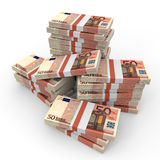 Stacks of money. Fifty euros. Royalty Free Stock Photography
