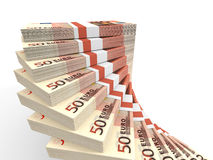 Stacks of money. Fifty euros. 3D illustration Royalty Free Stock Image