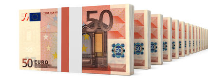 Stacks of money. Fifty euros. 3D illustration Stock Images
