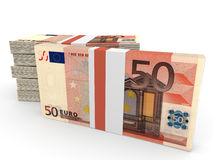 Stacks of money. Fifty euros. 3D illustration Stock Photography