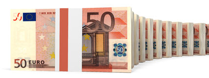 Stacks of money. Fifty euros. 3D illustration Stock Photos