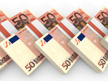 Stacks of money. Fifty euros. 3D illustration Stock Photo