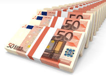 Stacks of money. Fifty euros. Stock Images