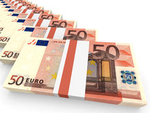 Stacks of money. Fifty euros. Stock Image