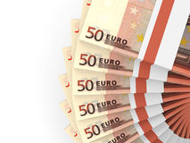 Stacks of money. Fifty euros. 3D illustration Royalty Free Stock Images