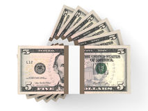 Stacks of money. Five dollars. Stock Images