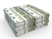 Stacks of money. Five euros. Royalty Free Stock Photos