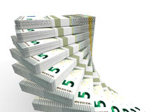 Stacks of money. Five euros. Royalty Free Stock Photography