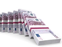 Stacks of money. Five hundred euros. Stock Image