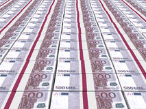 Stacks of money. Five hundred euros. Stock Images