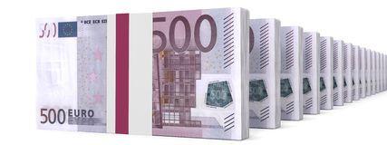 Stacks of money. Five hundred euros. Royalty Free Stock Photos