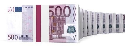 Stacks of money. Five hundred euros. Royalty Free Stock Photo