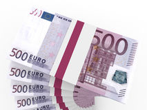 Stacks of money. Five hundred euros. Stock Photos