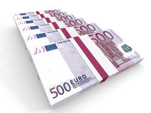 Stacks of money. Five hundred euros. Royalty Free Stock Images