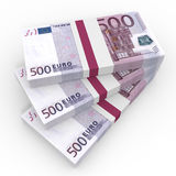 Stacks of money. Five hundred euros. Stock Photo