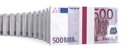 Stacks of money. Five hundred euros. Royalty Free Stock Photography