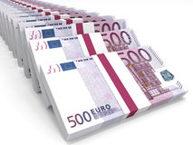 Stacks of money. Five hundred euros. Royalty Free Stock Photo