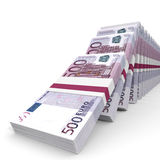 Stacks of money. Five hundred euros. Stock Photo