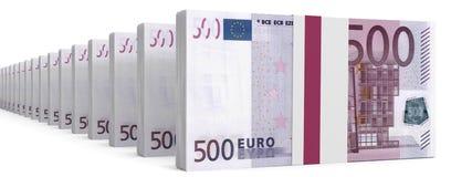 Stacks of money. Five hundred euros. Stock Photos
