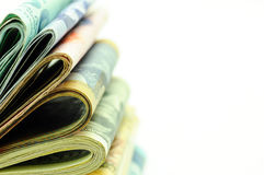 Stacks of Money - macro. Close up view of Stacks of money from different countries Royalty Free Stock Image