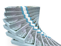 Stacks of money. New one hundred dollars. 3D illustration Royalty Free Stock Photos