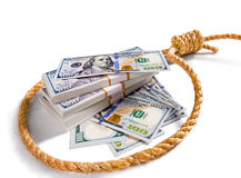 Stacks of money in a noose Royalty Free Stock Photo