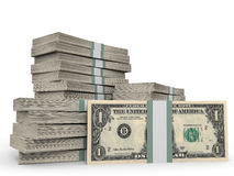 Stacks of money. One dollar. 3D illustration stock illustration