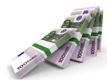 Stacks of money. One hundred euros. Stock Image