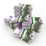Stacks of money. One hundred euros. Royalty Free Stock Photo