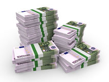 Stacks of money. One hundred euros. Stock Photos