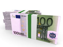 Stacks of money. One hundred euros. 3D illustration stock illustration