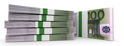 Stacks of money. One hundred euros. 3D illustration Royalty Free Stock Images