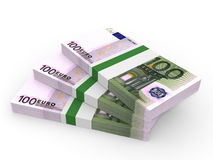 Stacks of money. One hundred euros. Stock Photo