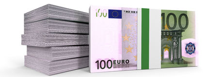 Stacks of money. One hundred euros. Royalty Free Stock Images