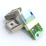 Stacks of money. Packs of dollars euros drkgoy lie on top on a white background vector illustration
