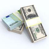 Stacks of money. Packs of dollars euros drkgoy lie on top on a white background royalty free illustration