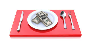 Stacks of money on the plate Stock Photography
