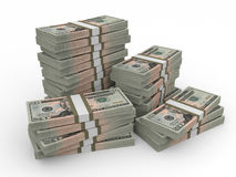 Stacks of money. Twenty dollars. Royalty Free Stock Photo