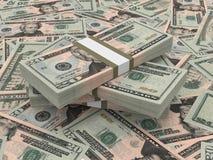 Stacks of money. Twenty dollars. Stock Photo