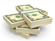 Stacks of money. Two dollars. Stock Photos