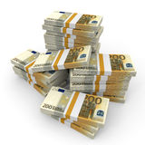 Stacks of money. Two hundred euros. Royalty Free Stock Images