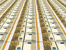 Stacks of money. Two hundred euros. 3D illustration Stock Photos