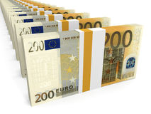 Stacks of money. Two hundred euros. Royalty Free Stock Image