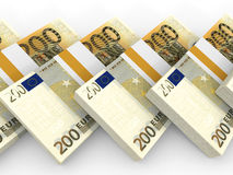 Stacks of money. Two hundred euros. Stock Image