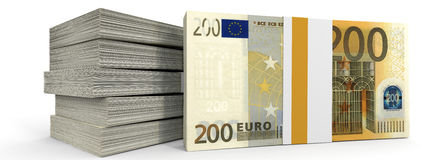 Stacks of money. Two hundred euros. Stock Photos