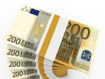 Stacks of money. Two hundred euros. 3D illustration Royalty Free Stock Images