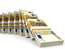 Stacks of money. Two hundred euros. Stock Photo