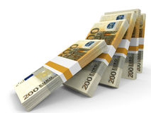 Stacks of money. Two hundred euros. 3D illustration Royalty Free Stock Photos