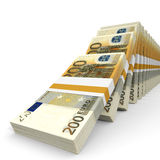 Stacks of money. Two hundred euros. 3D illustration Stock Image