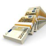 Stacks of money. Two hundred euros. Stock Image